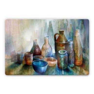 Glasbild Schmucker - Stillleben mit blauer Schale