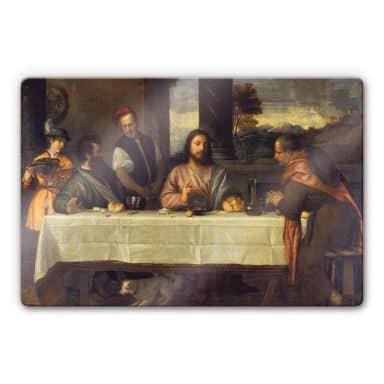 Tizian - The Supper at Emmaus Glass art