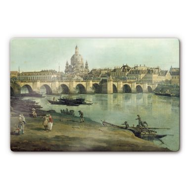Canaletto - Dresden seen from the right bank Glass art
