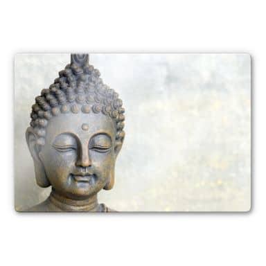 Glasbild Buddha Gesicht