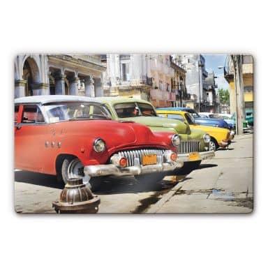 Glasbild Cuba Cars