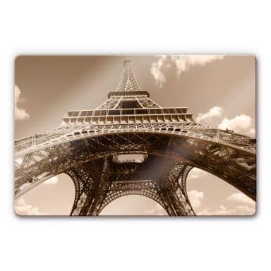 Glasbild Eiffelturm Perspektive