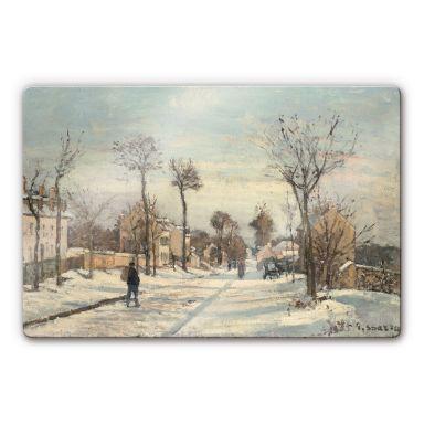 Glasbild Pissarro - Straße von Louveciennes im Schnee