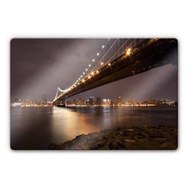 Manhattan Bridge at Night Glass art