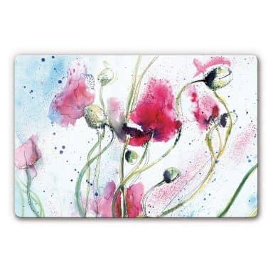 Poppies Watercolour Glass art