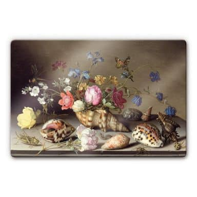 Balthasar van der Ast - Still Life with Flowers, Shells and Insects Glass art
