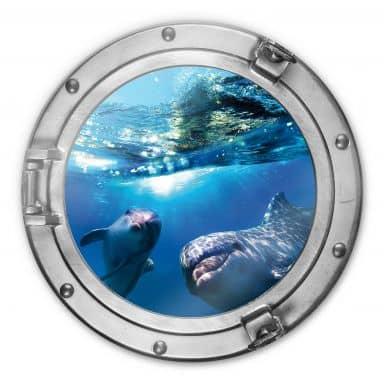 Glasschilderij 3D Optiek - Dolfijnen