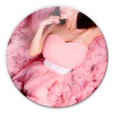 Glasbild Das rosa Kleid - rund