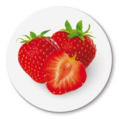 Strawberries Glass art - round