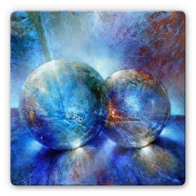 Glasbild Schmucker -  Zwei blaue Murmeln