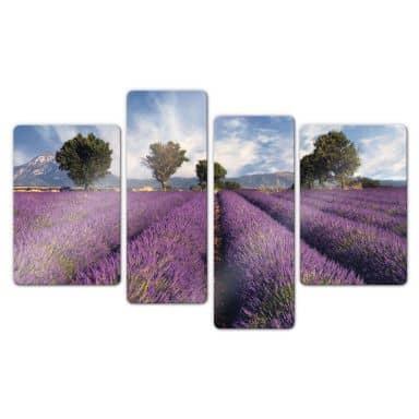 Lavender field Glass art (4 parts)
