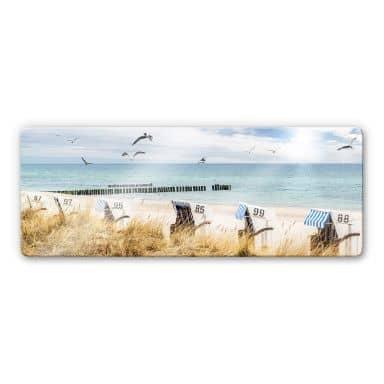 Glasbild Strandkörbe an der Ostsee