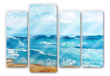 Tableau en verre - Toetzke - Son de la mer (4 parties)