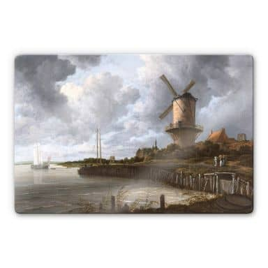 Glasbild van Ruisdael - Die Windmühle von Wijk beiDuurstede