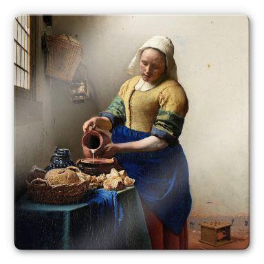 Glasbild Vermeer - Das Mädchen mit dem Milchkrug - quadratisch
