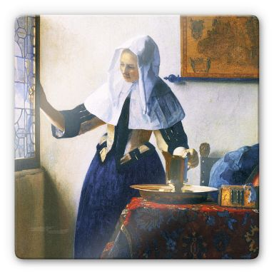 Glass Print Vermeer - Woman with Water Pitcher