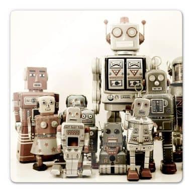 Glasbild Versammlung der Roboter