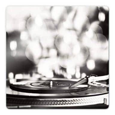 Glasbild Vinyl Record on Turntables - quadratisch
