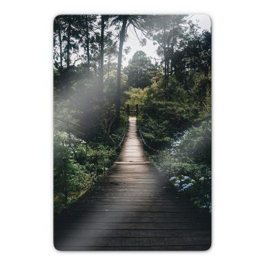 Glass Print Forest Road