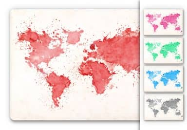World Map Watercolour Glass art