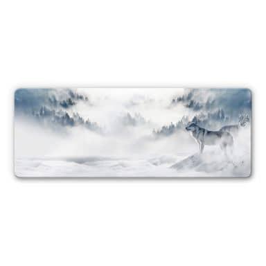 Glasbild - Wölfe im Schnee - Panorama