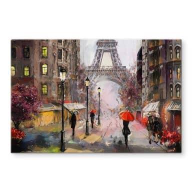 Glasbild Roter Schirm in Paris Aquarell