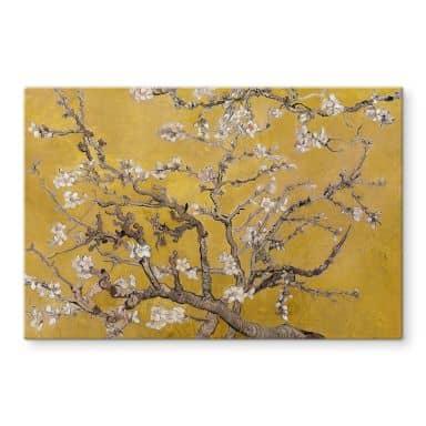 Glasschilderij van Gogh - Amandelbloesem oker