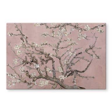 Glasschilderij van Gogh - Amandelbloesem roze