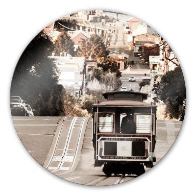 Glasbild Cable Cars - rund
