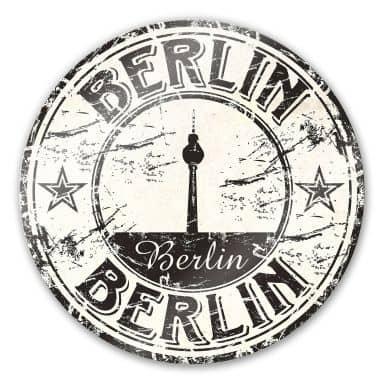 Glasbild Poststempel Berlin - rund