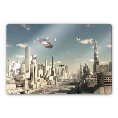 Glasbild - 3D Landeanflug Sci-Fi Stadt