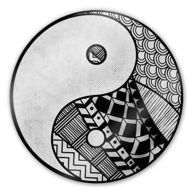 Glasbild Yin und Yang - rund