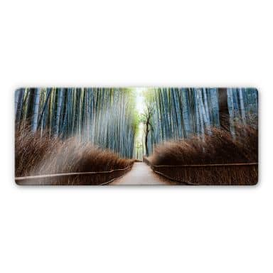 Glass Print Colombo - The Bamboo Cave in Japan - Panorama