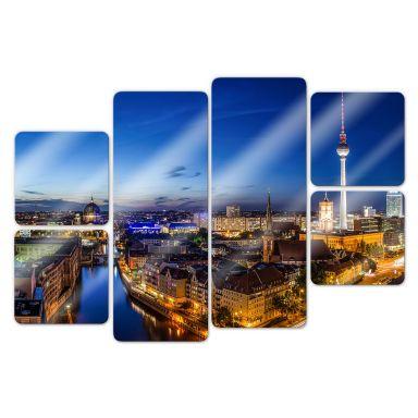 Glasbild Berlin Panorama (6-teilig)
