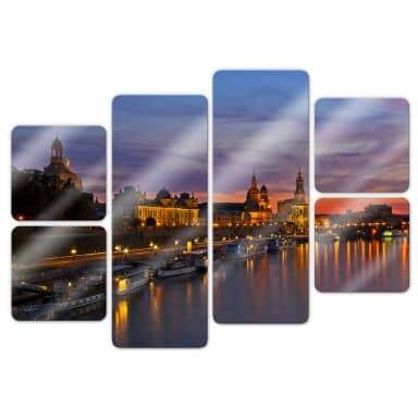 Glasbild Dresden im Nachtlicht (6-teilig)