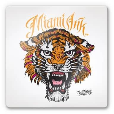 Tableau en verre - Miami Ink - Tigre