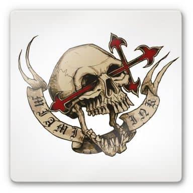 Tableau en verre - Miami Ink - Tête de mort avec croix