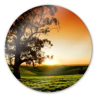 Sunset over the hills Glass art - round