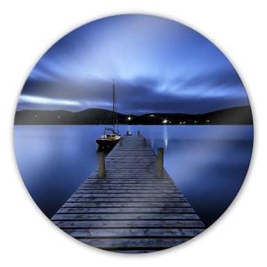 Silent Lake - Round Glass art