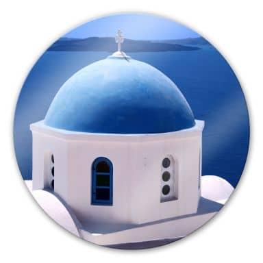 Glasbild Sommer in Griechenland - rund