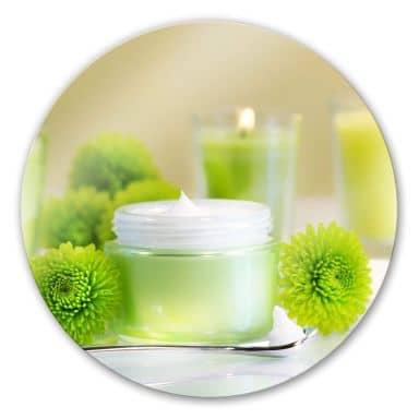 Glasbild Candle lemon - rund