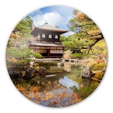 Japanese Temple 2 Glass art - round