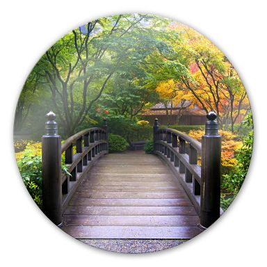 Bridge in the Green - Round Glass art