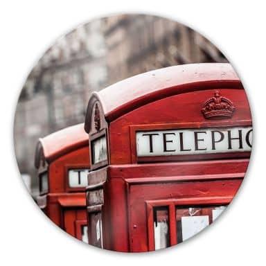 Tableau en verre - Cabine Téléphonique Anglaise - rond
