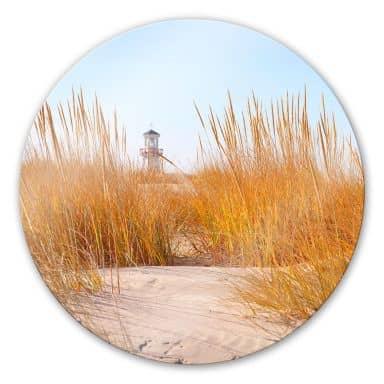 Glasbild Leuchtturm im Strandfeld - rund