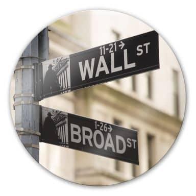 Glasbild Wallstreet - rund