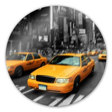 New York Taxi Glass art - round