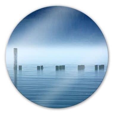 Glasschilderijen Mist op het water - rond
