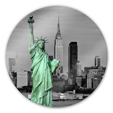 Glasschilderijen Vrijheidsbeeld NY - Rond