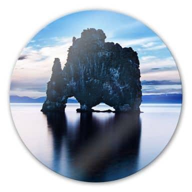 Glasbild Felsen im Meer - rund